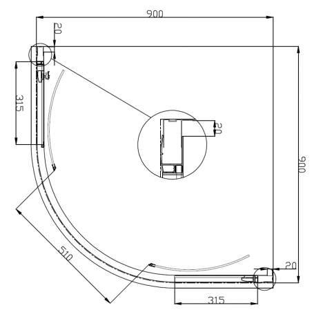 VOLLE FIESTA душевая кабина 90*90*200см на мелком поддоне, профиль хром, стекло прозрачное(10-22-157) - 2